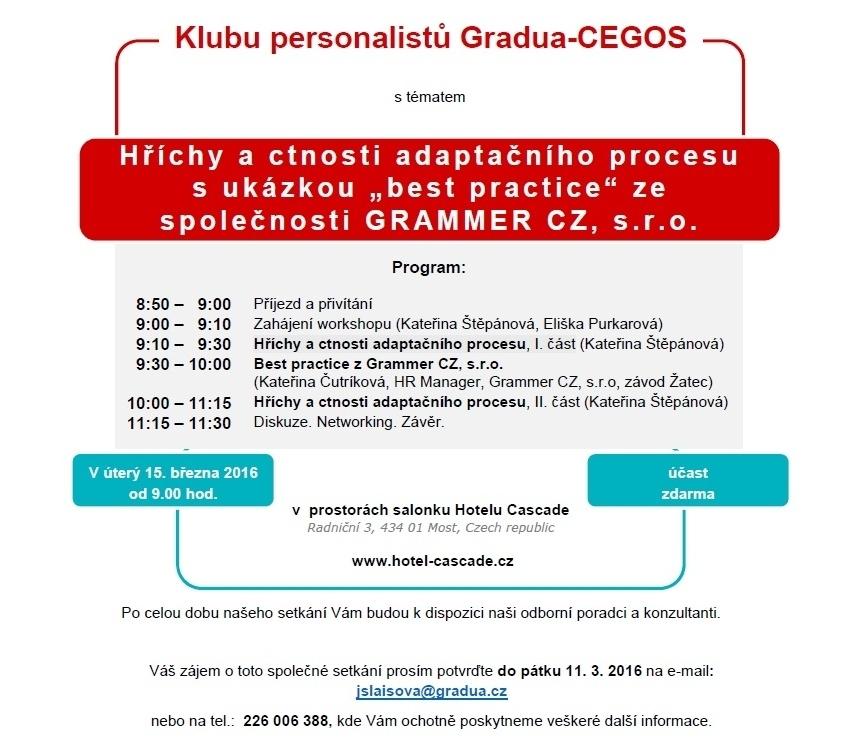 Program Klubu personalistů Gradua-CEGOS pro březnové setkání v Mostě
